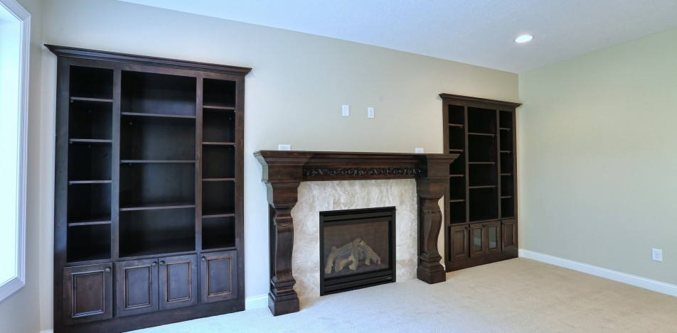 Built-in shelving and Mantle