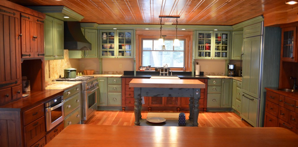 Tri-Colored Green, blue and wood stained Country Kitchen