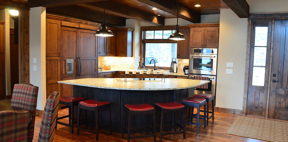 Alder Stained Curved Granite Island
