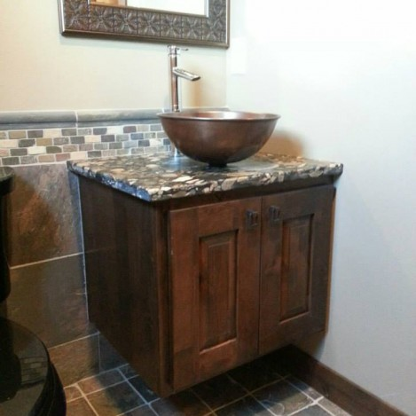 Wall hung vessel sink vanity
