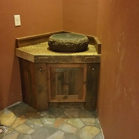 Barn-wood Vanity with Vessel Sink