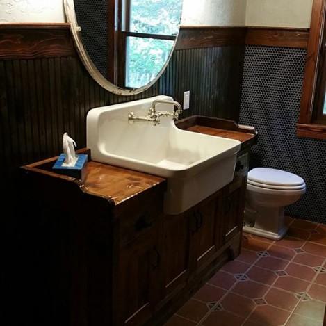 Farm sink wood top vanity
