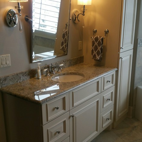 Full Overlay Applied Molding Paneled Door Vanity & Linen