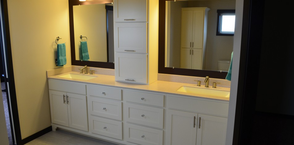 Painted, Double Vanity, countertop, storage