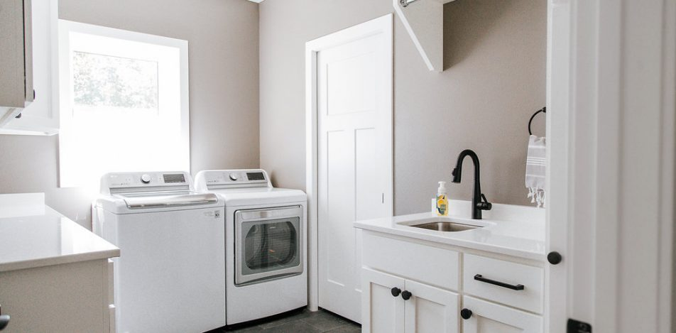 White Painted, shaker style Laundry room