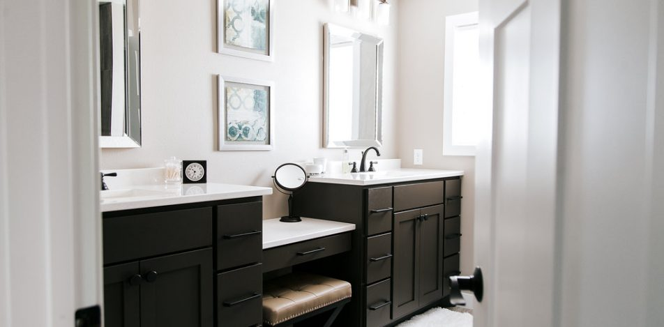 Double vanity, painted sealskin with makeup counter
