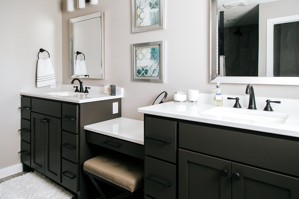 double vanity with makeup counter. Double vanity  painted sealskin with makeup counter Alpine