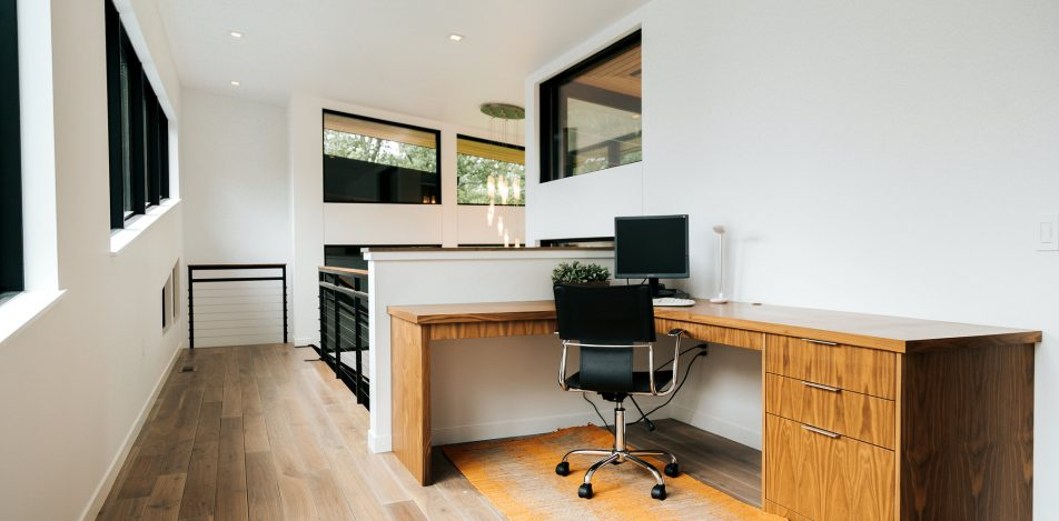 Modern Frameless Walnut desk
