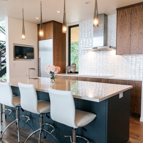 frameless Walnut Kitchen with painted island