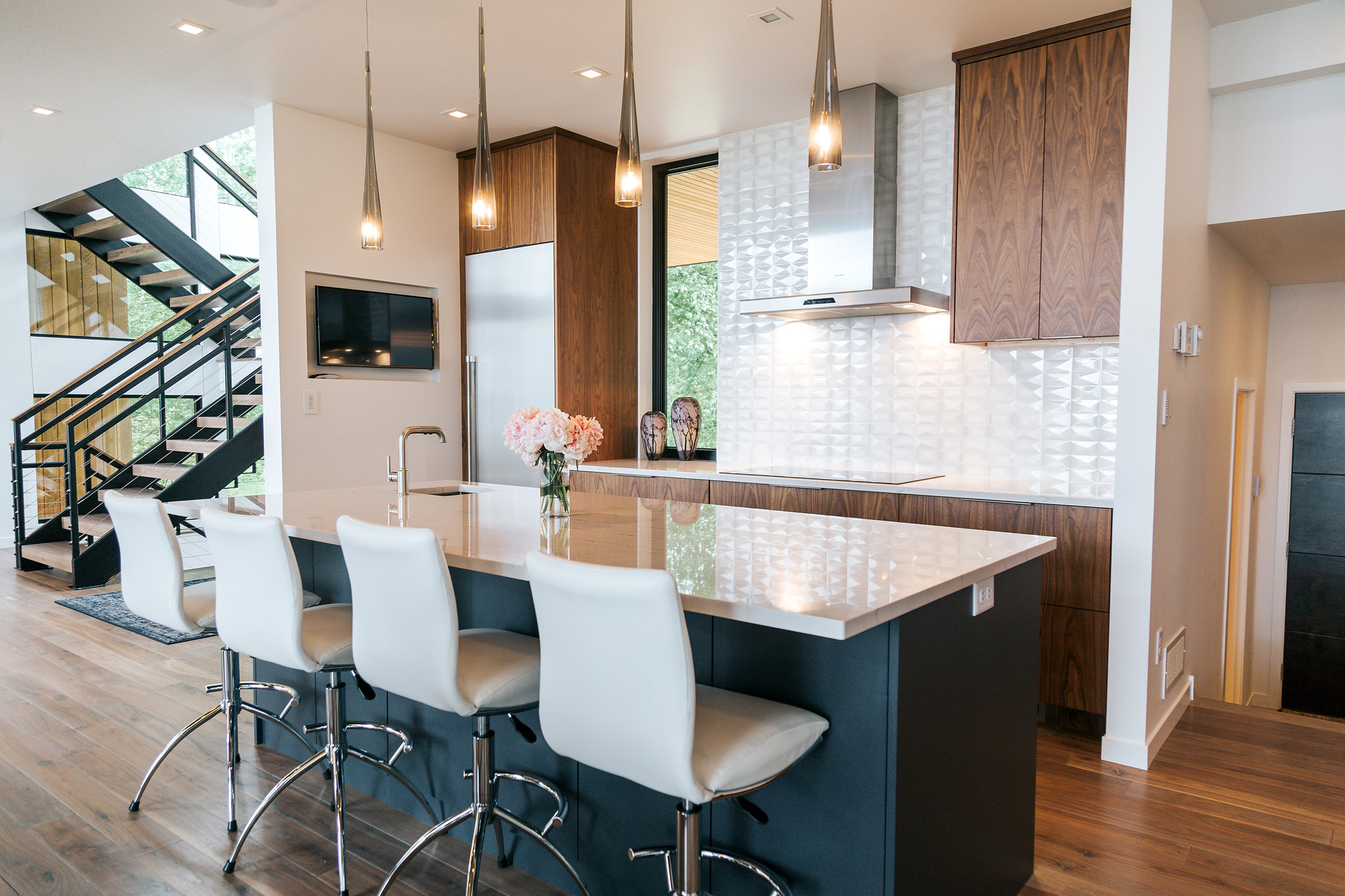 Admirable Walnut Kitchen With Painted Island Alpine Cabinetry Home Interior And Landscaping Ologienasavecom