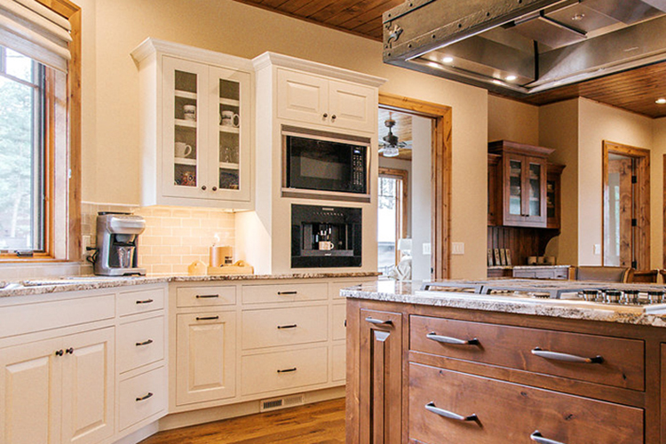 Two Toned Kitchen, Glass Kitchen, White Cabinets, Stained Island