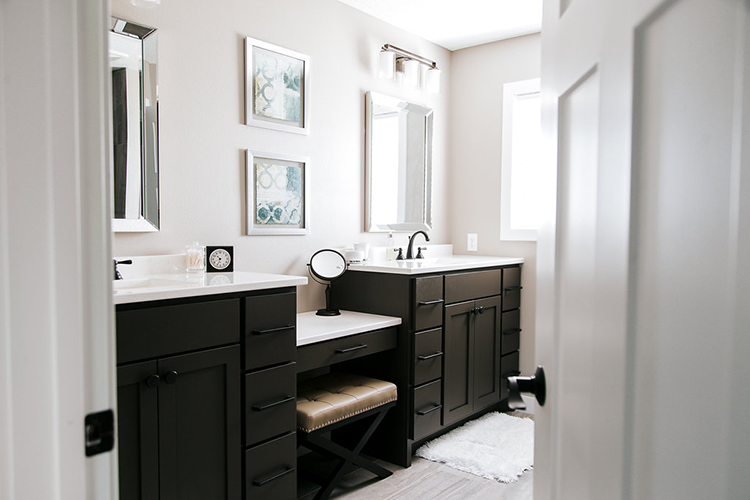 Double, Vanity, Make Up Table, White, Stained