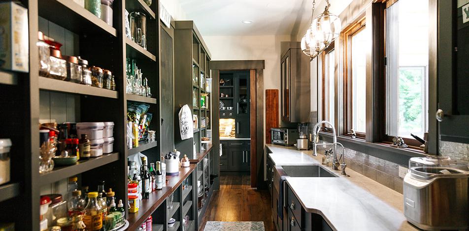 Black Pantry, Modern residential Pantry, Pantry, Black Cabinets, Black Kitchen