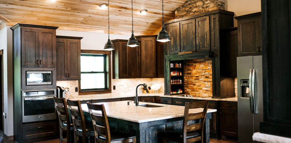 Rustic Hickory Skip Sawn and Rustic Alder kitchen cabinets
