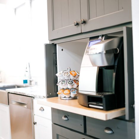 Tall Wall cabinet with shiplap pocket doors for coffee bar painted Grizzle Grey