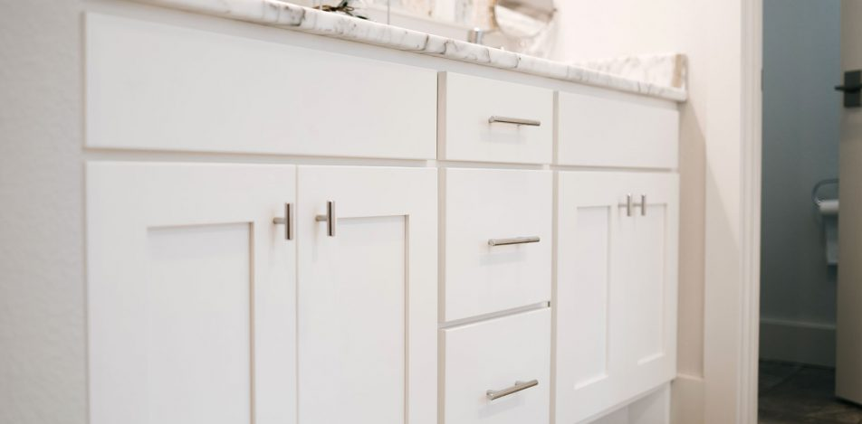Double Sink painted White Vanity with granite top