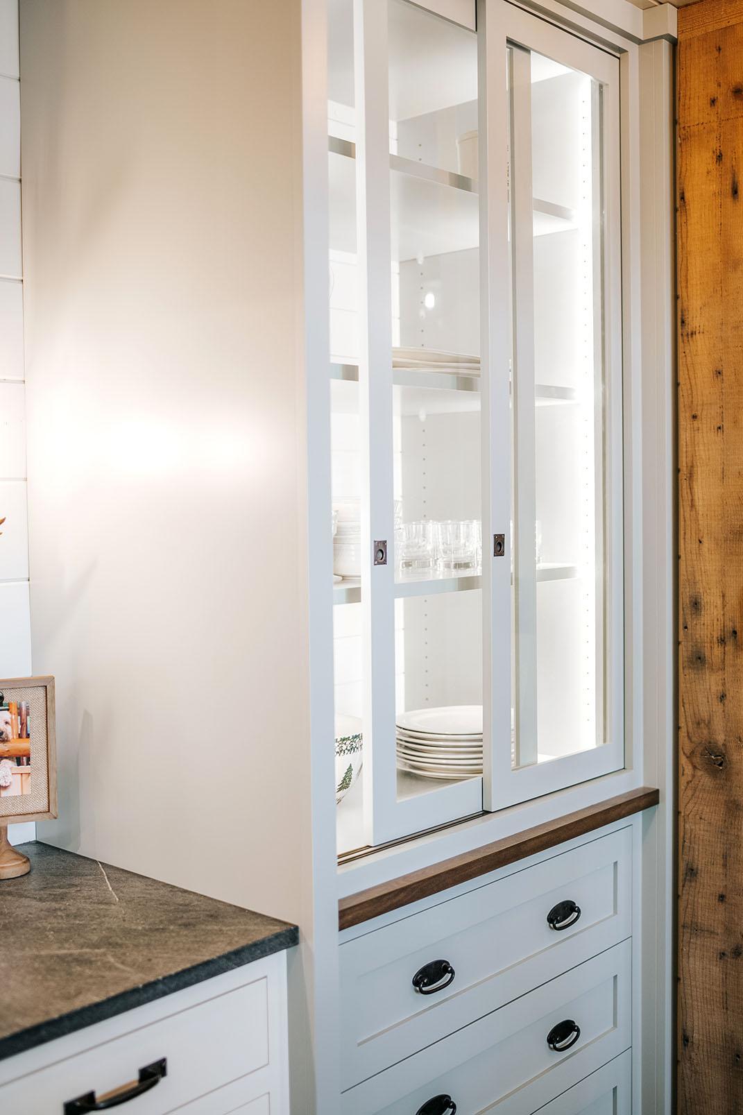 Sliding Glass Door Hutch Painted Oyster With Inset Doors Below
