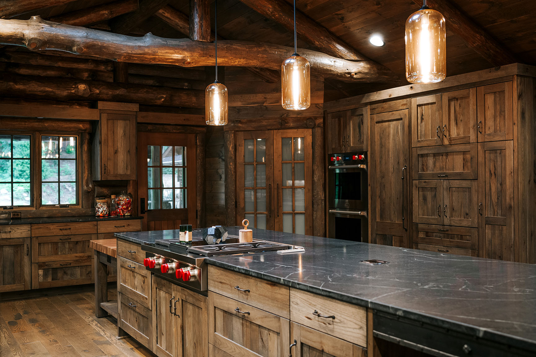 Distressed Rustic Hickory Kitchen Cabinets With Shiplap Panel Inserts And Wire Mesh Uppers Farm Sink