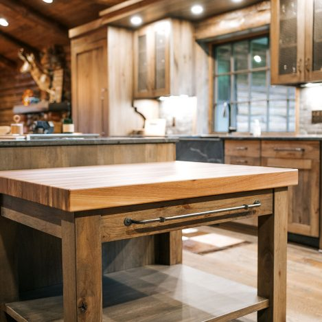 Butcher Block Island with Rustic Hickory cabinets