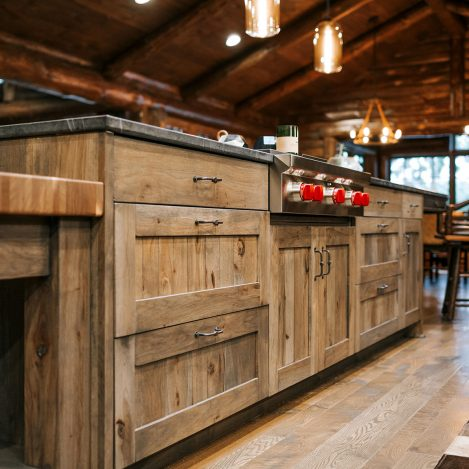 Distressed Hickory Island with butcher Block and full overlay doors