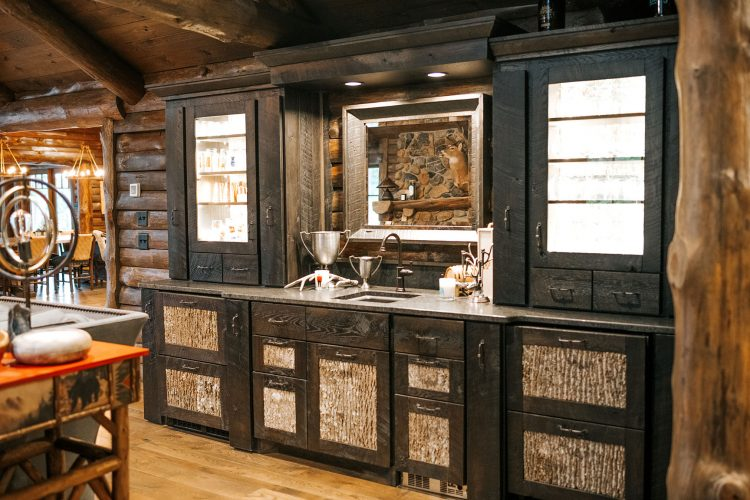 Rustic Buffet with bark panel insets and glass side cabinets