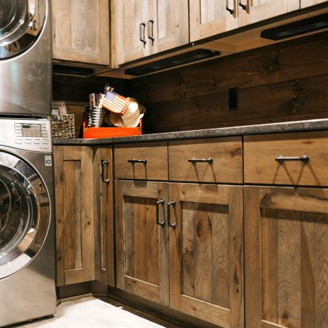Distressed Rustic Hickory Shiplap laundry cabinets